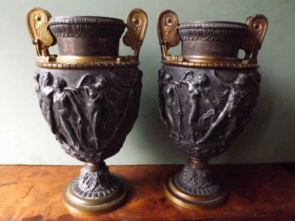 pair of late c19th 'grand tour' souvenir bronzed and giltbrass classical vases after the antique
