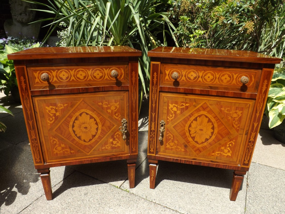 pair of early c20th northern italian inlaid walnut bedside cupboards in the late c18th style of the lombardy region