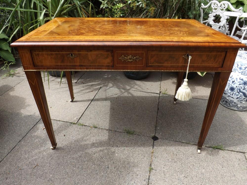 c19th ormolumounted burrwalnut 2drawer writingcentre table