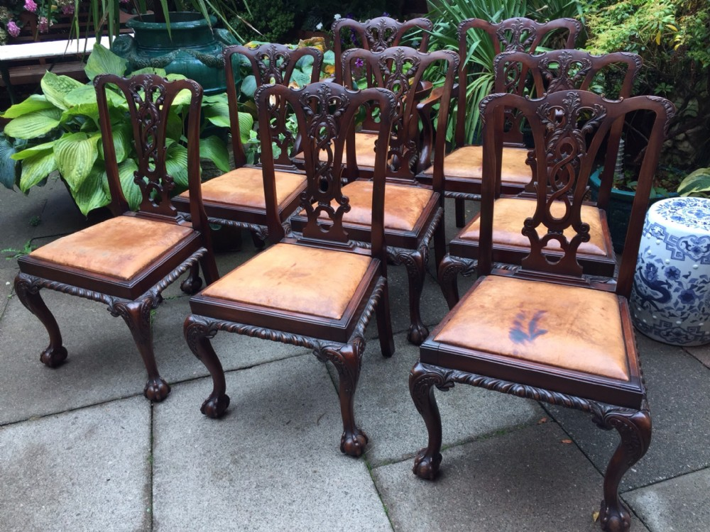 set of 8 late c19th georgian design chippendalestyle mahogany dining chairs
