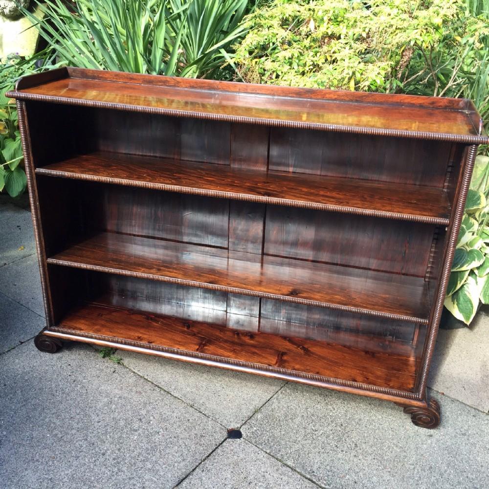early c19th regency period rosewood open 'dwarf' bookcase