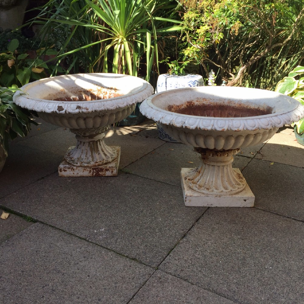 magnificent largescale pair of mid c19th castiron shallowbowl garden or terrace vases