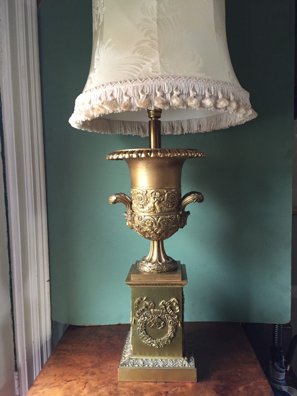 late c19th gilded ormolubronze empire style tablelamp
