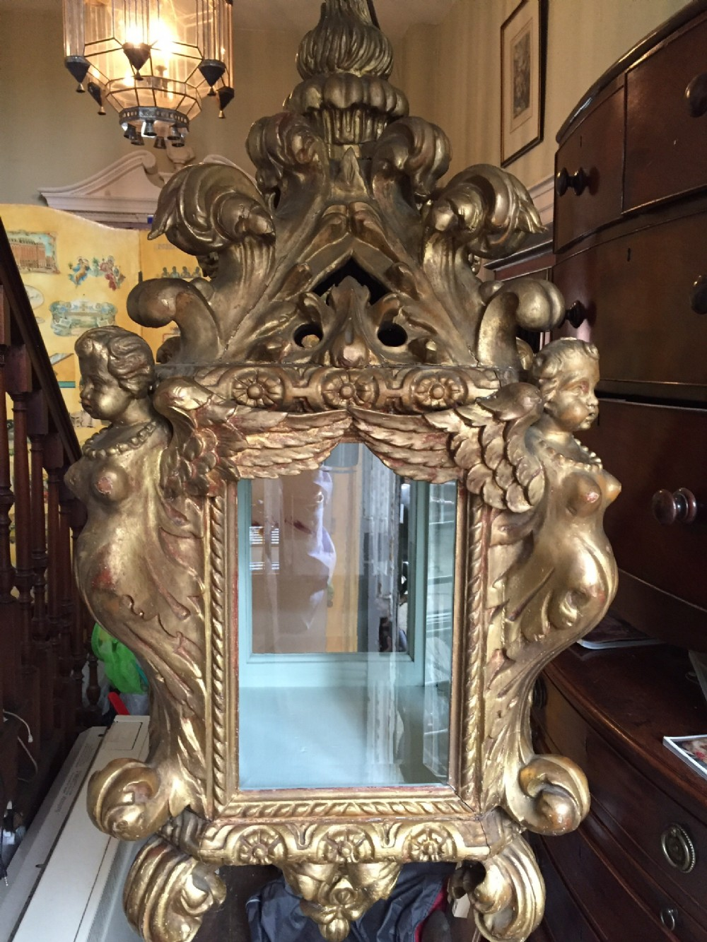 late c19th italian carved giltwood baroquestyle hanging hall lantern
