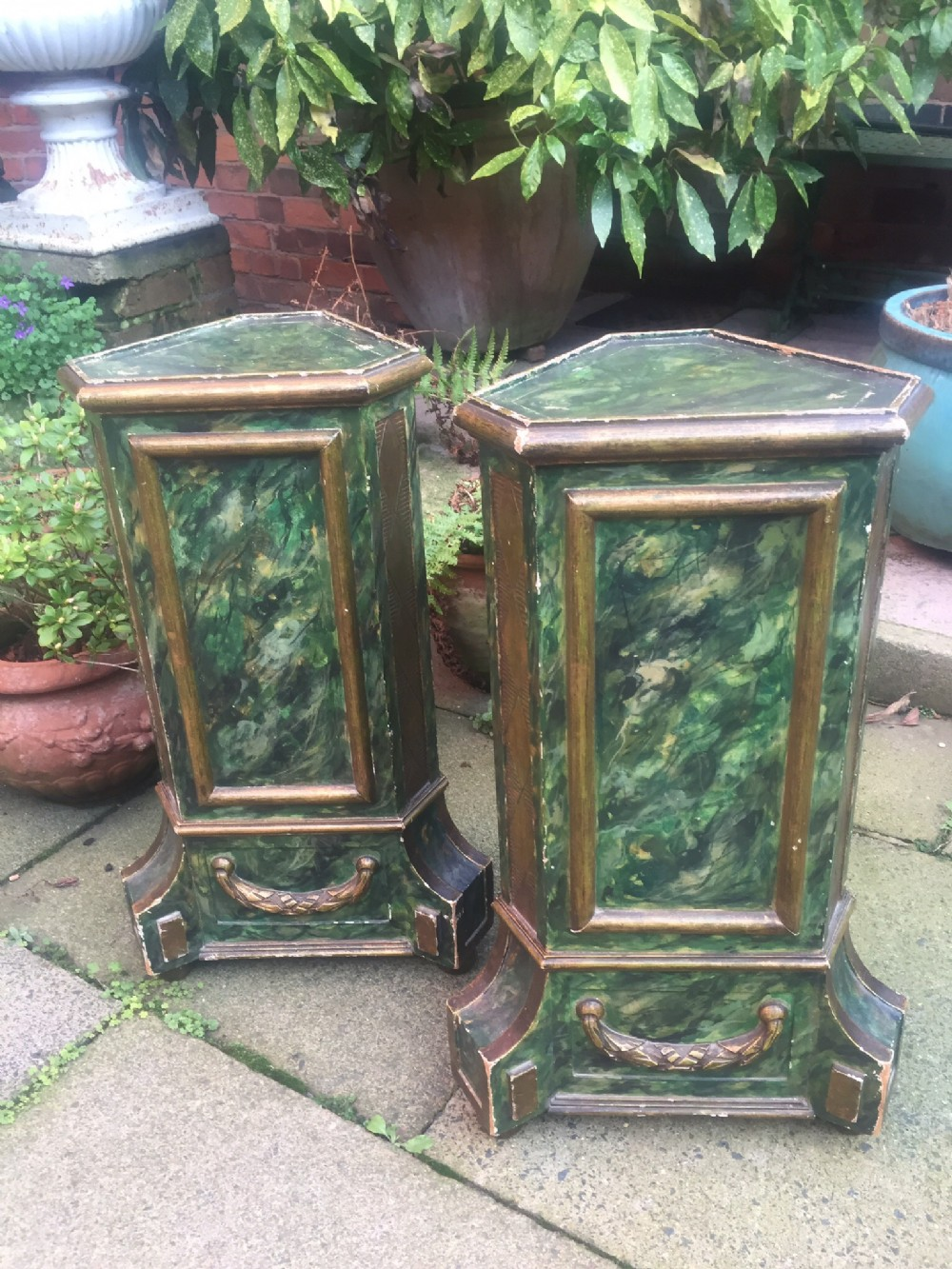pair of late c19th early c20th italian venetianstyle 'faux' marble stands