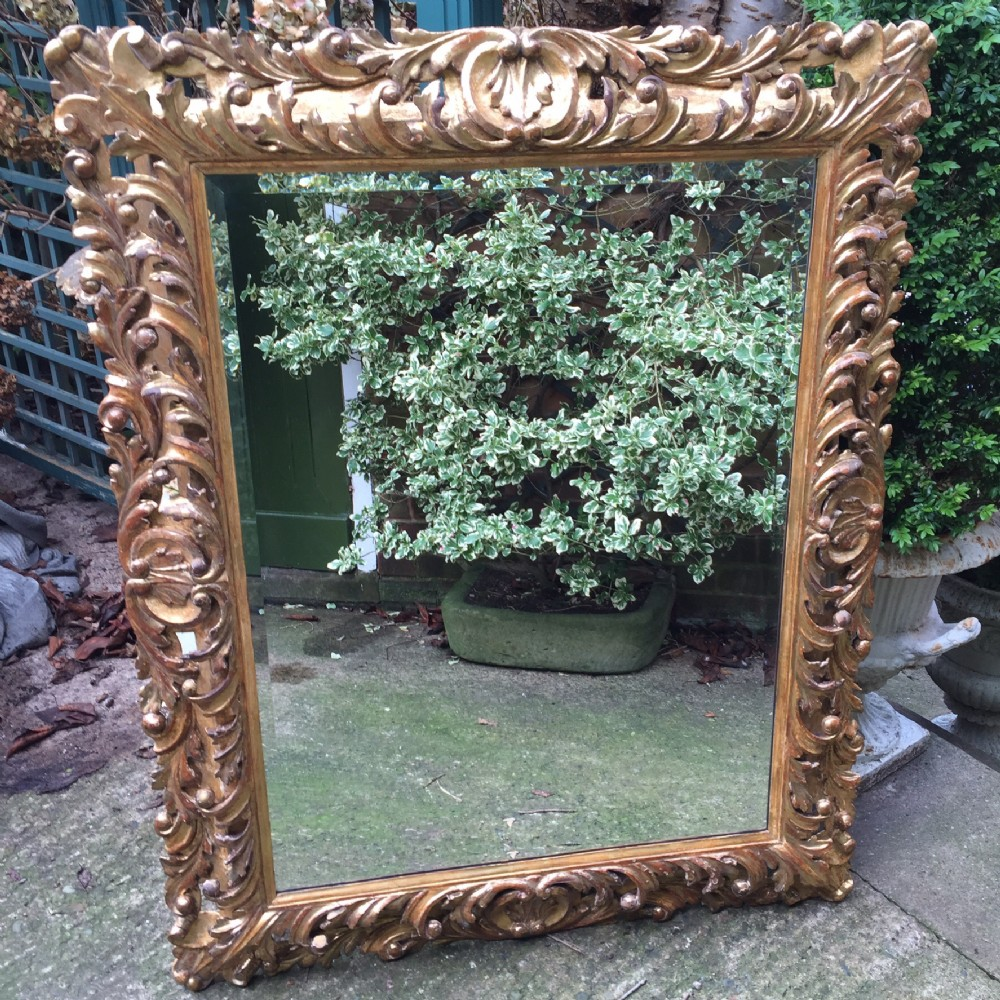 fine late c18th italian florentine carved giltwood frame mirror of good large scale