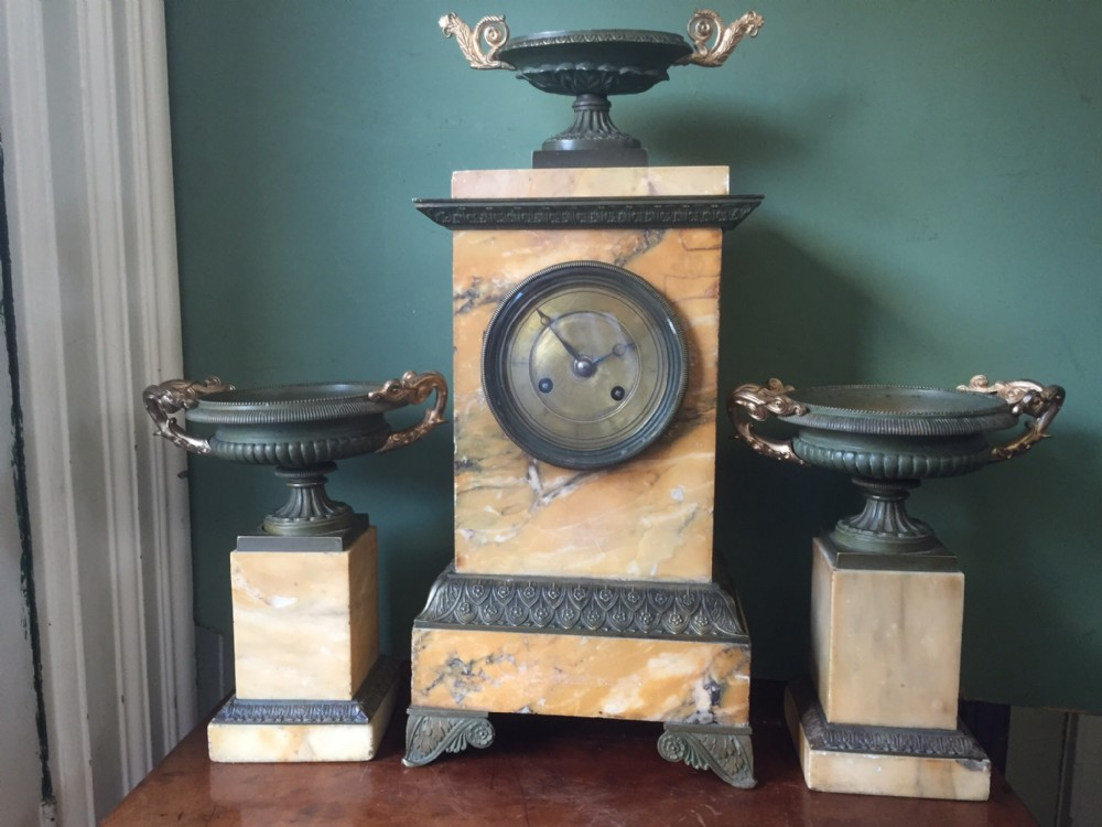 early c19th french charles x period siena marble and patinated bronze clock garniture