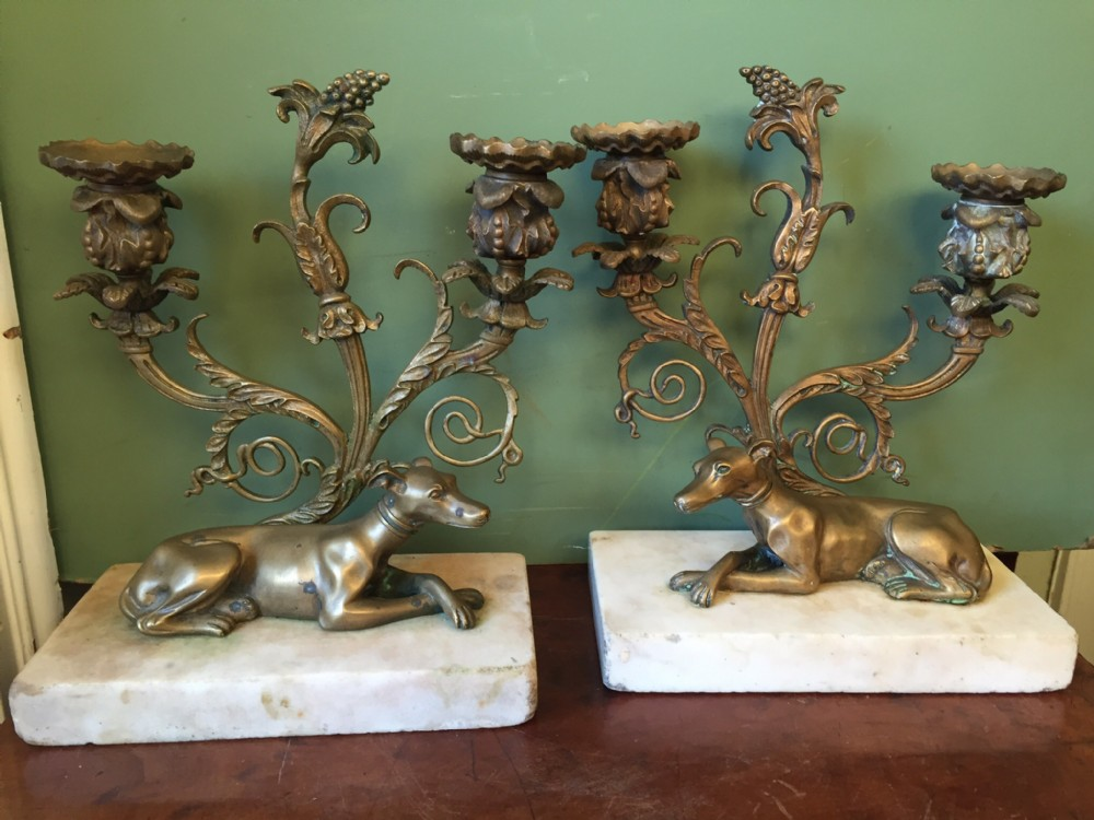 pair of early c19th regency period gilded bronze candelabra