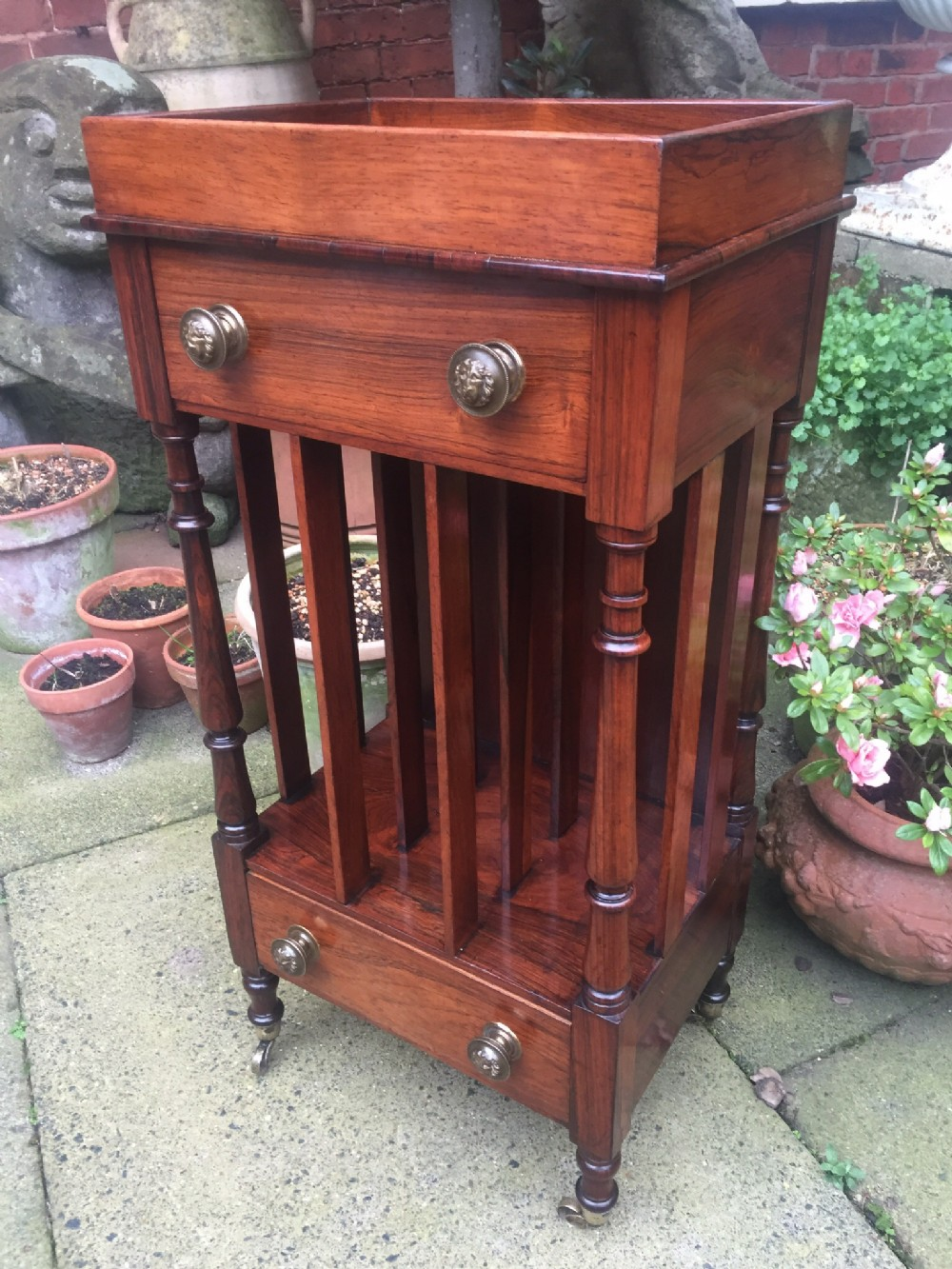 early c19th regency period rosewood etagere bookcasecanterburyfoliostand of unusual form