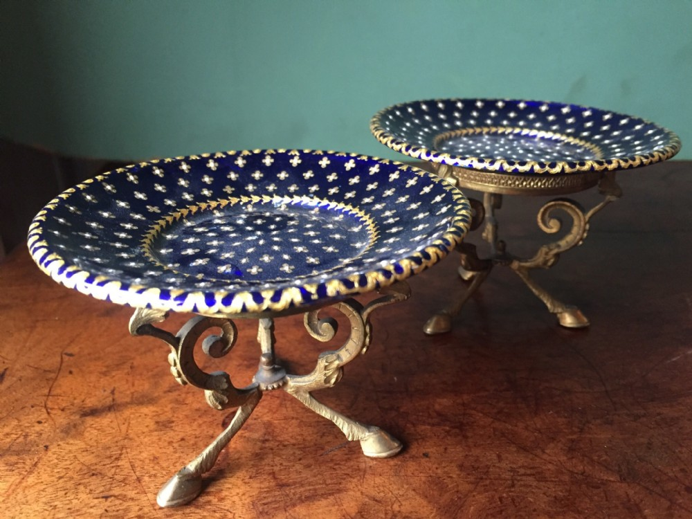 pair of late c19th french miniature enamel tazzas on ormolu bases