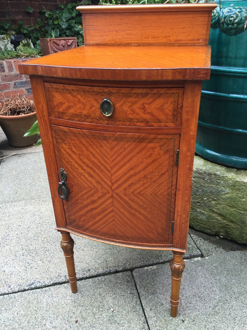 fine quality late c19th early c20th edwardian period satinwood bedside cupboard