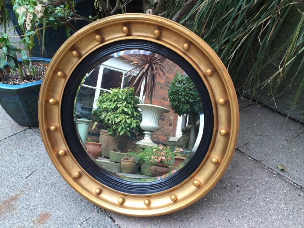 c19th regency style circular giltwood mirror