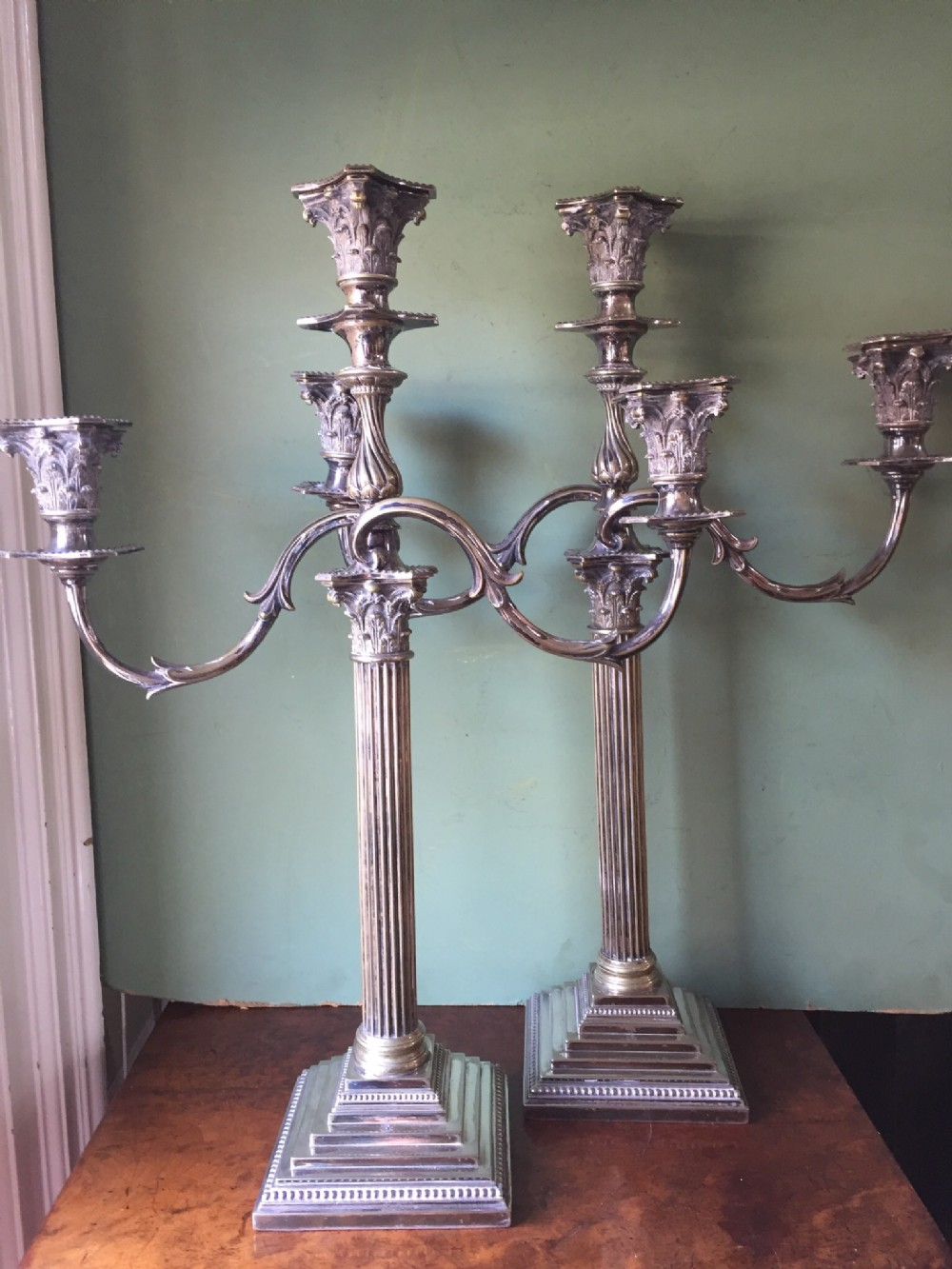 pair of late c19thearly c20th silverplated candelabras of classical design