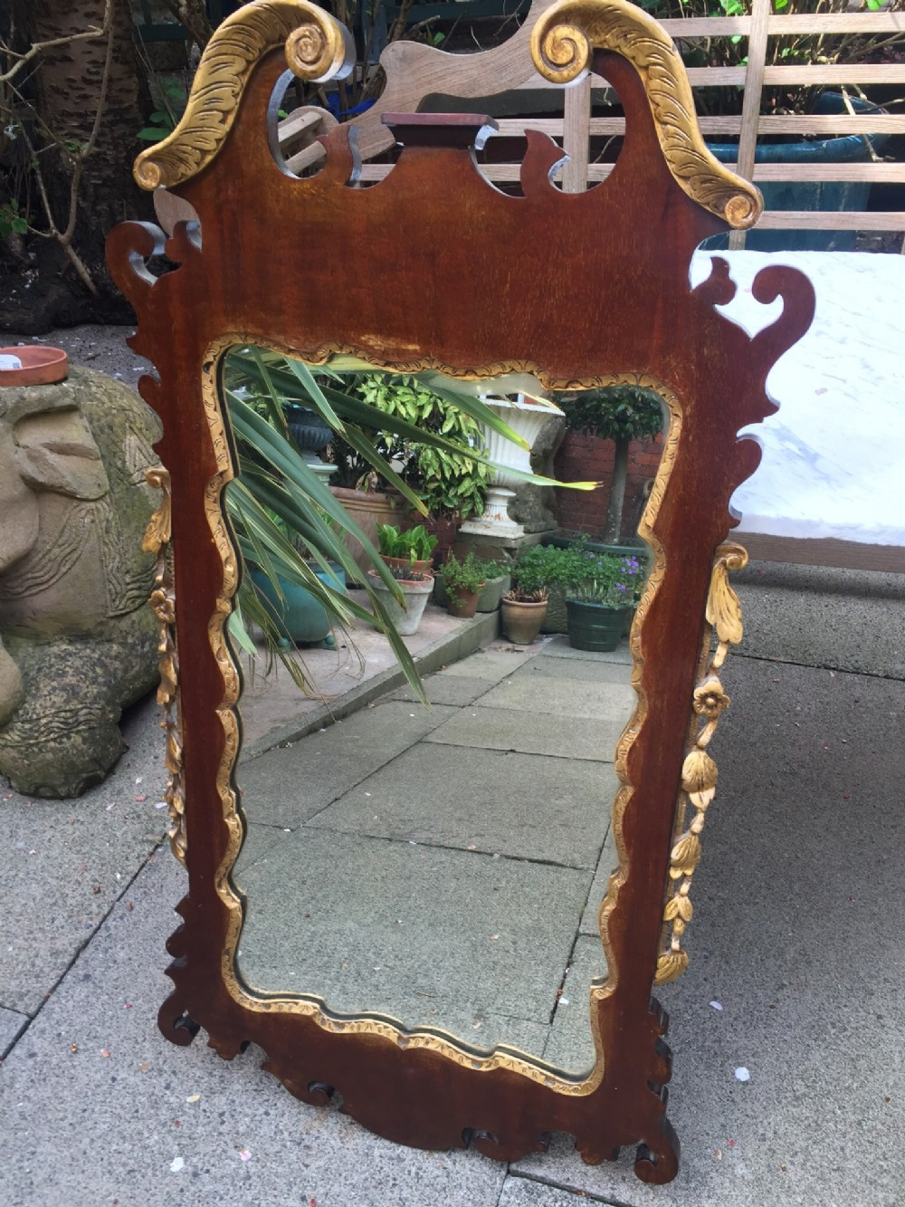 c19th george ii revival style mahogany and parcelgilt fret carved mirror