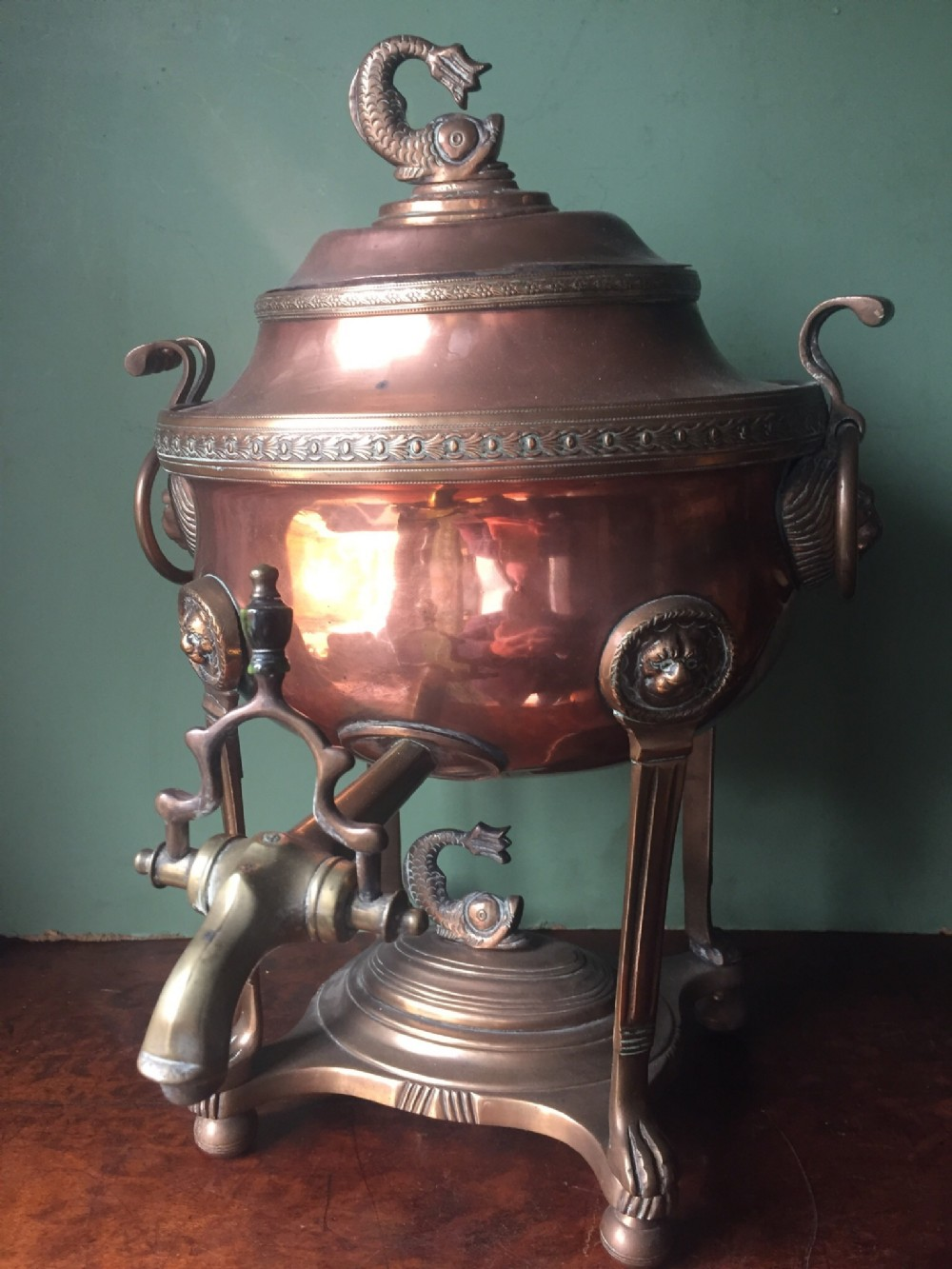 early c19th regency period copper and brass hotwater urn or 'samovar'