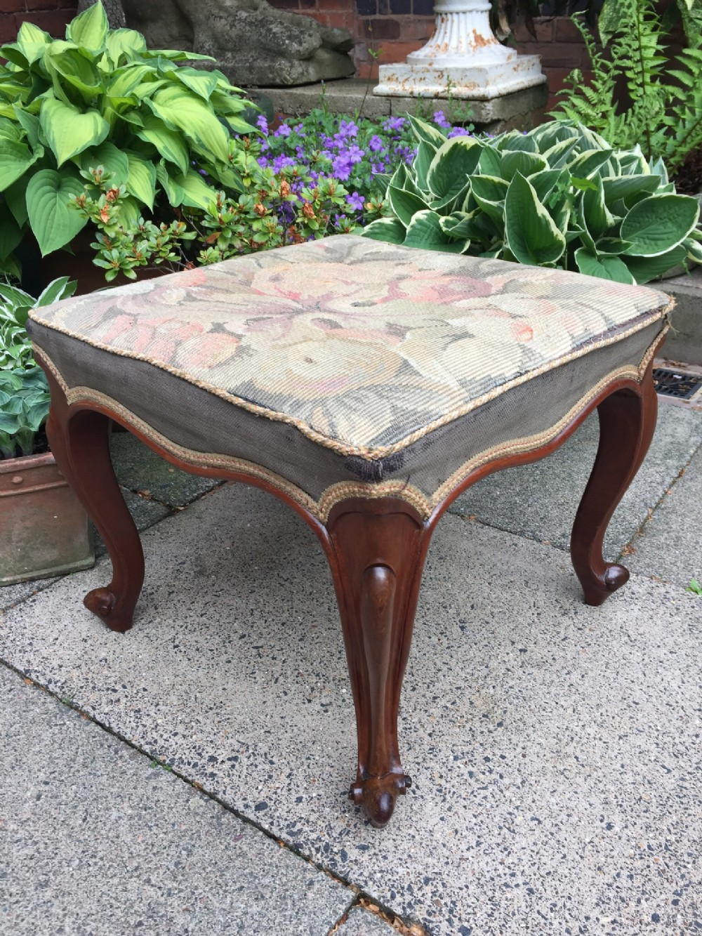 c19th victorian period walnut cabriole leg stool