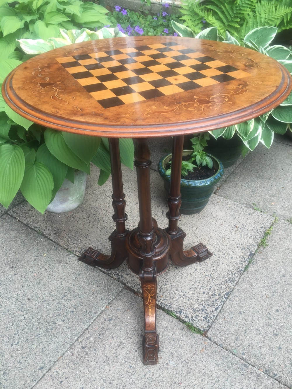 c19th victorian period walnut circular occasional table with inlaid chequerboard games top