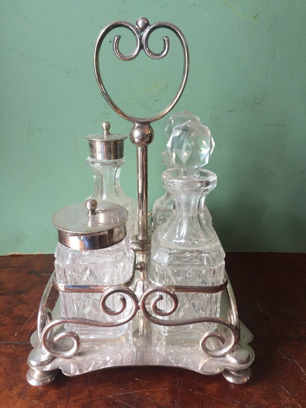 late c19th silverplated and cutglass 4bottle table cruet