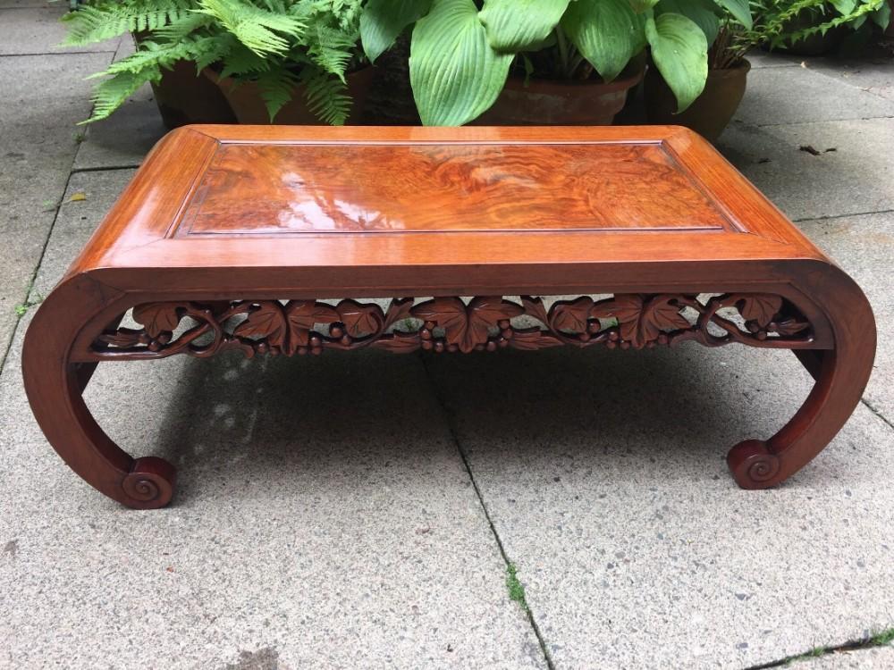 Beau Late C19th Chinese Qing Dynasty Hardwood Scrollend U0027kangu0027 Table