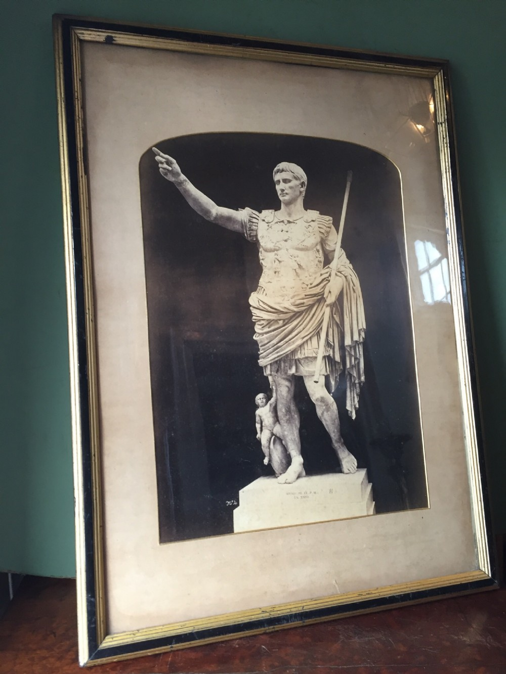 early c20th framed black and white photograph of 'grand tour' interest augustus caesar prima porta