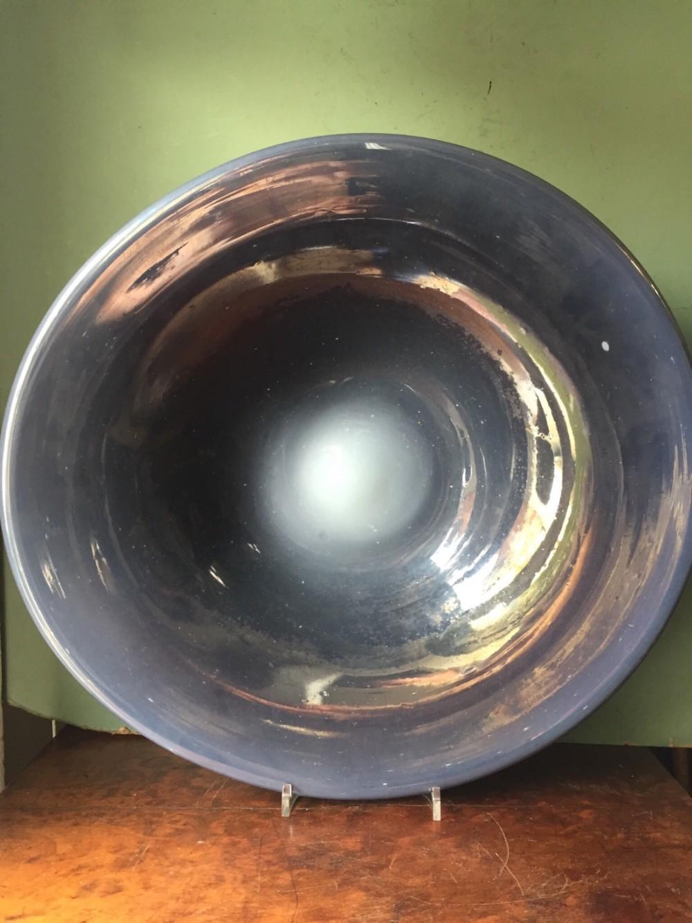 interesting late c19thearly c20th mercurygrey glass dish
