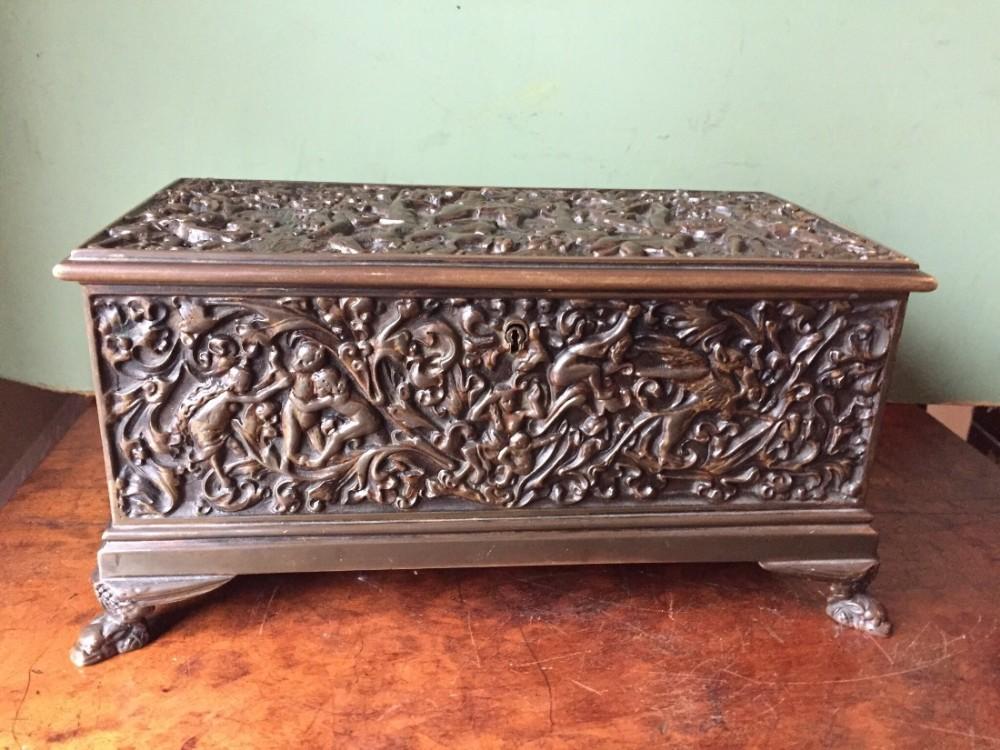 fine c19th castbronze italian rectangular table casket of renaissance design