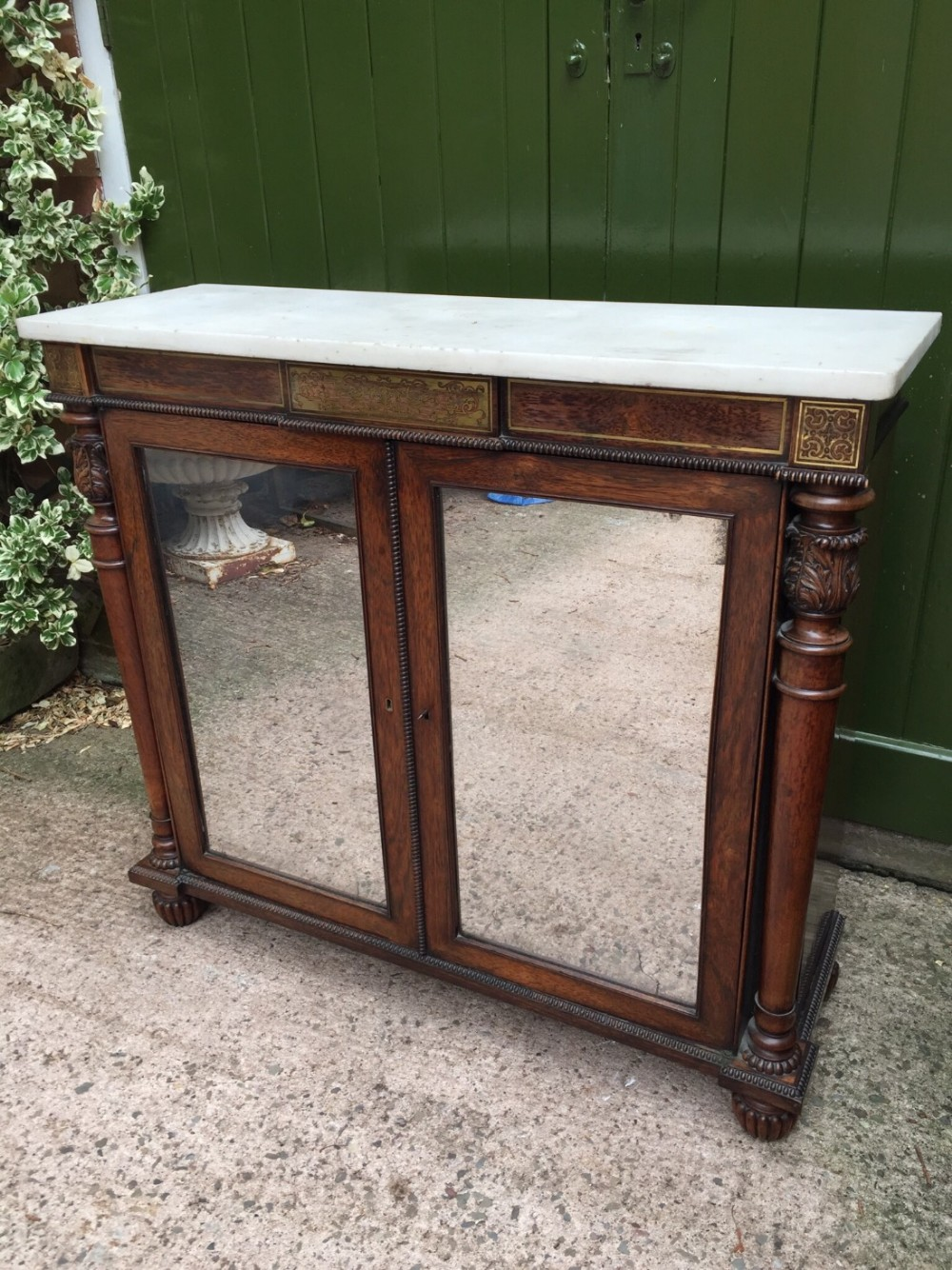 fine early c19th george iv period brassinlaid rosewood side cabinetdwarf bookcase with marble top attributed to gillows of lancaster