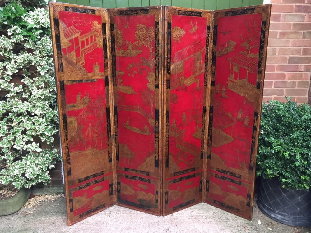 late c19th fourfold chinoiserie polychrome and gilt decorated embossed leather draughtscreen roomdivider