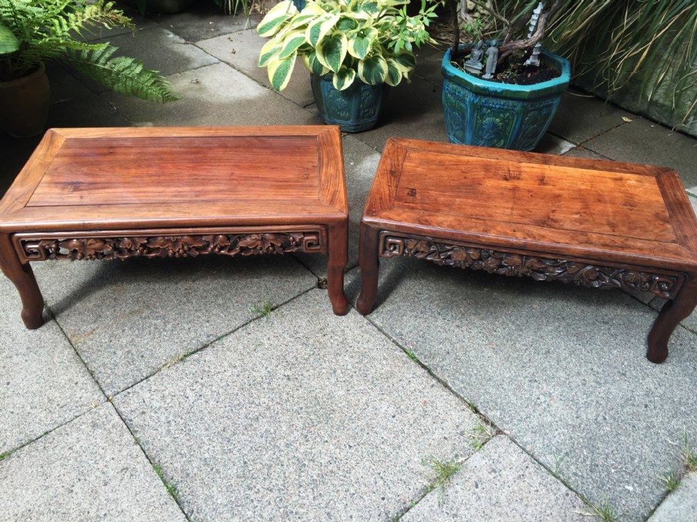 matched 'pair' of late c19thearly c20th chinese qing dynasty hardwood 'kang' tables
