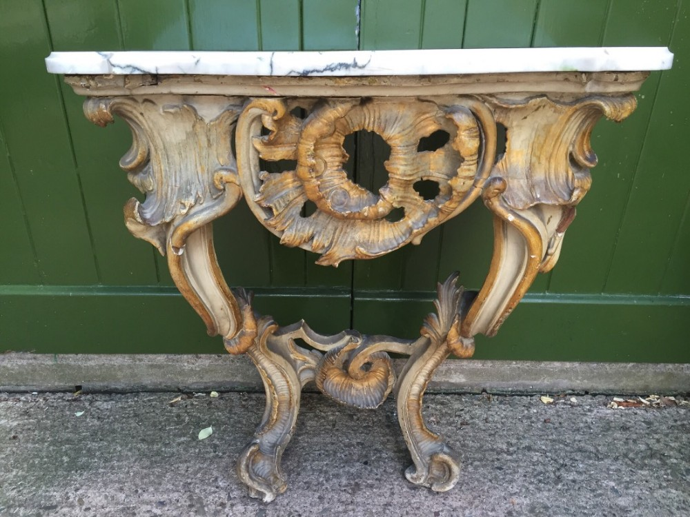 late c18th italian marbletopped carved giltwood and decorated rococostyle console table