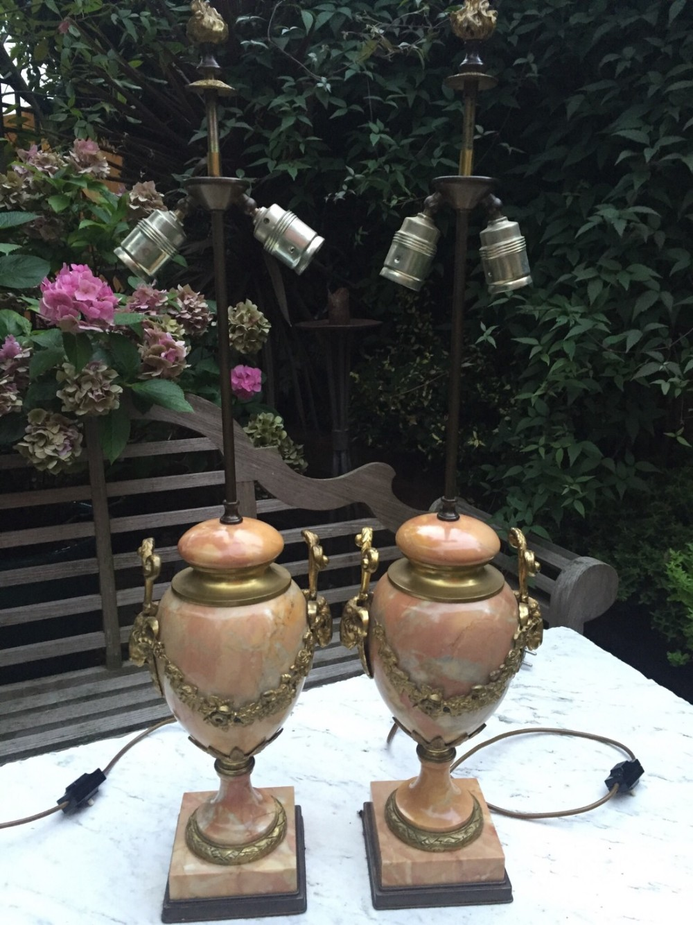 pair of early c20th french louis xvi style ormolumounted marble lamps