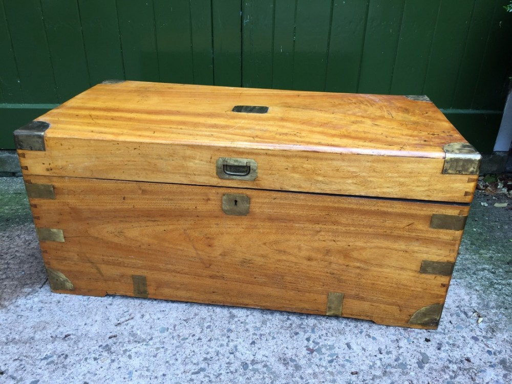 c19th chinese export brassbound military campaign travelling trunk in camphor wood
