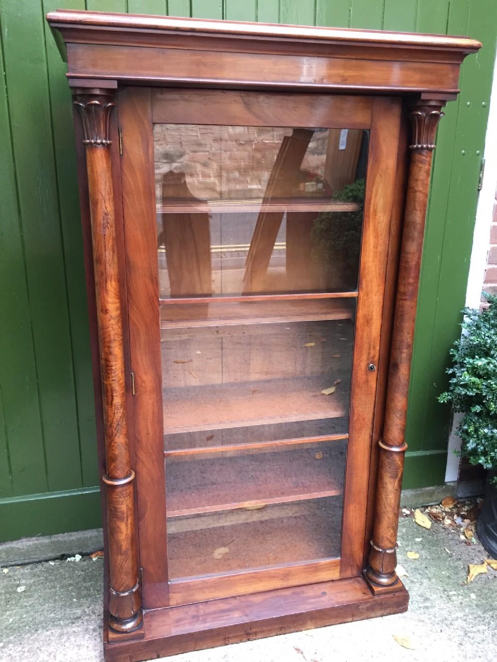 c19th empirestyle mahogany floorstanding glazed bookcase cabinet