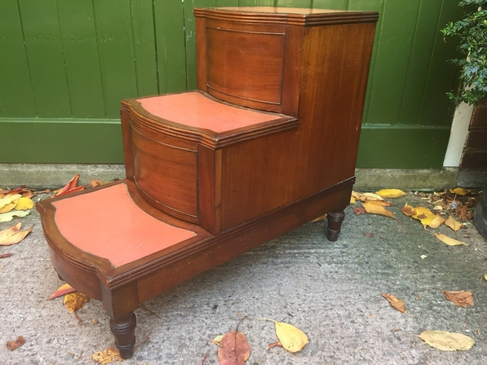 early c19th regency period set of mahogany bedsidesteps commode
