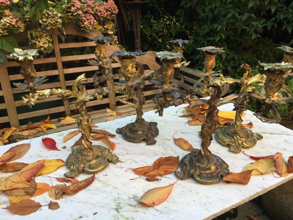 fine and scarce set of 4 c19th cast ormolu bronze rococo design twinbranch candelabras