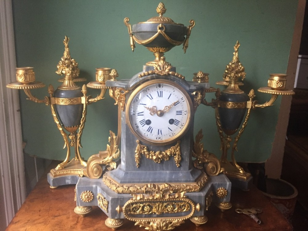 fine quality late c19th french ormolumounted 3piece 'bleu turquin' marble clock garniture