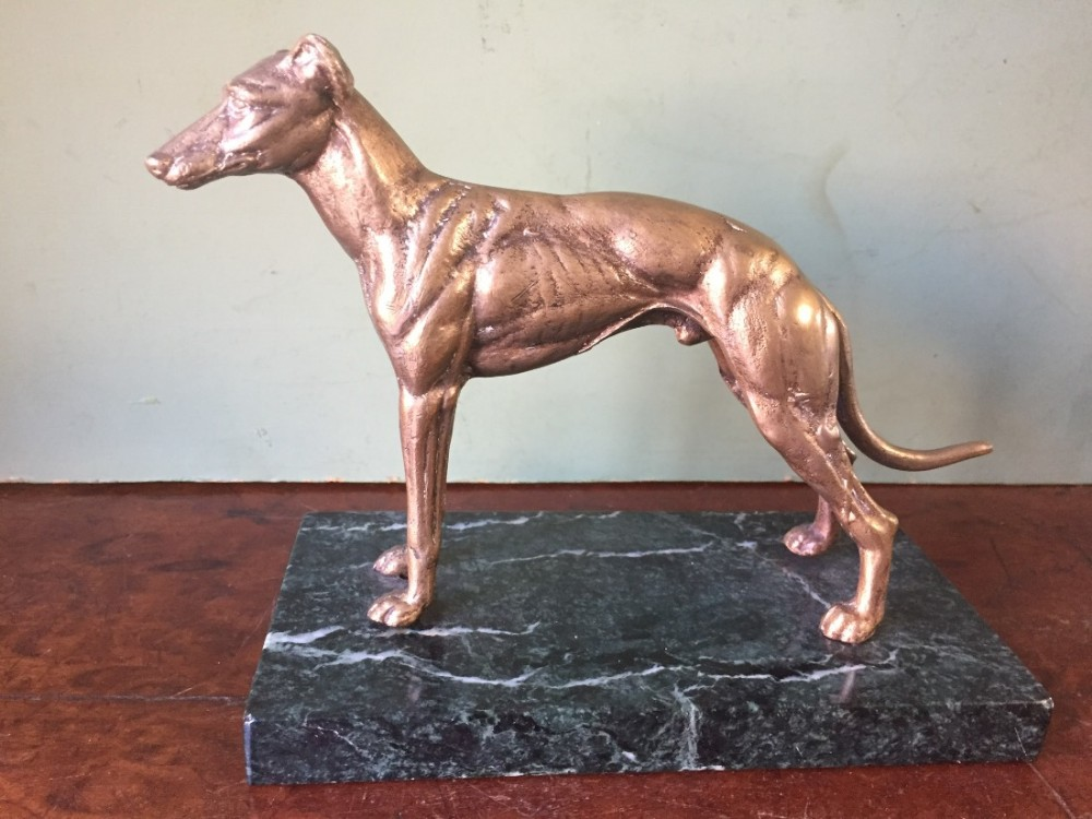 late c19th gilt bronze study of a standing greyhound on a marble base