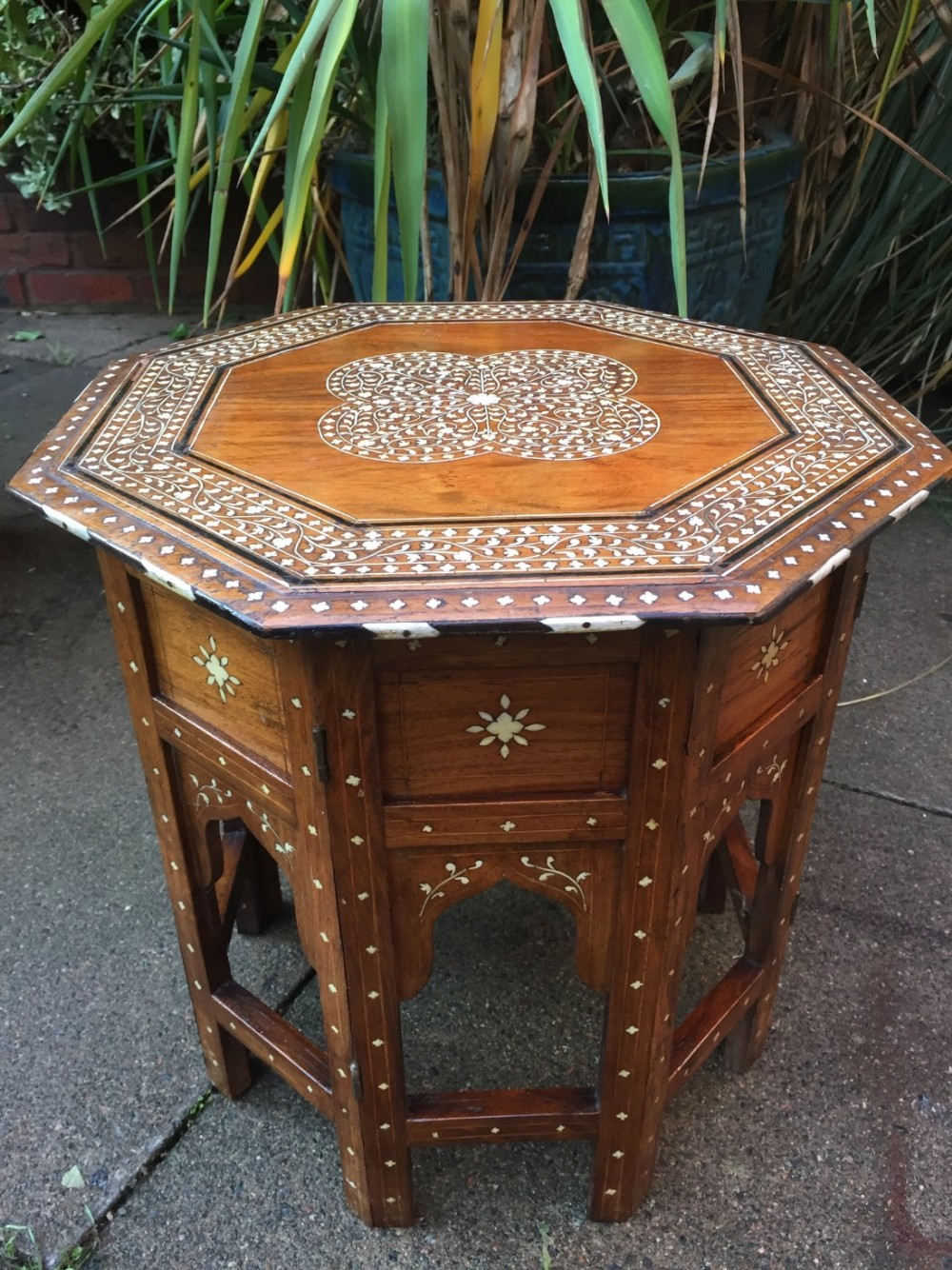 late c19th angloindian ivory inlaid 'shisham' folding octagonal table