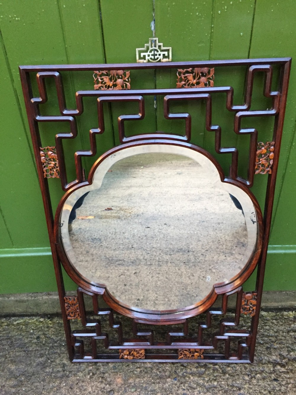 early c20th chinese hardwood open fretwork framed wall mirror with carved boxwood decoration