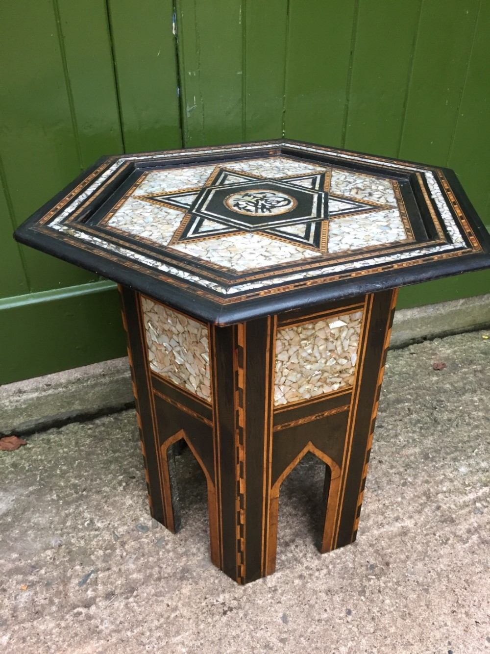 late c19thearly c20th syrian inlaid 'mother of pearl' nacreshell and ebonised hexagonal table