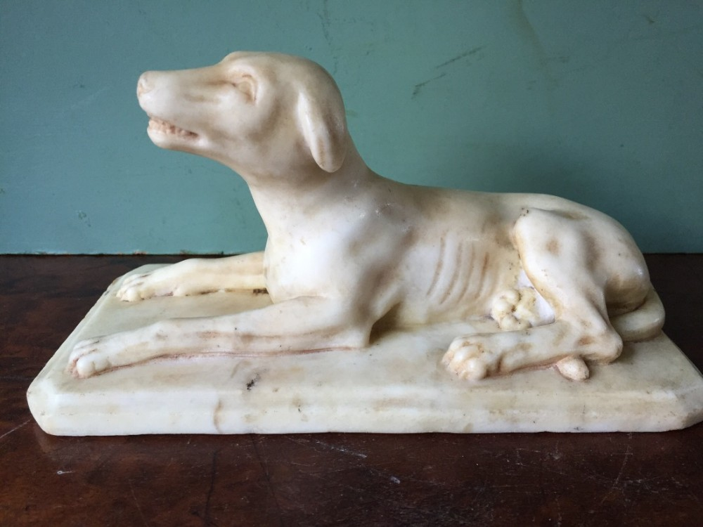 early c19th regency period carved marble sculpture of a hound