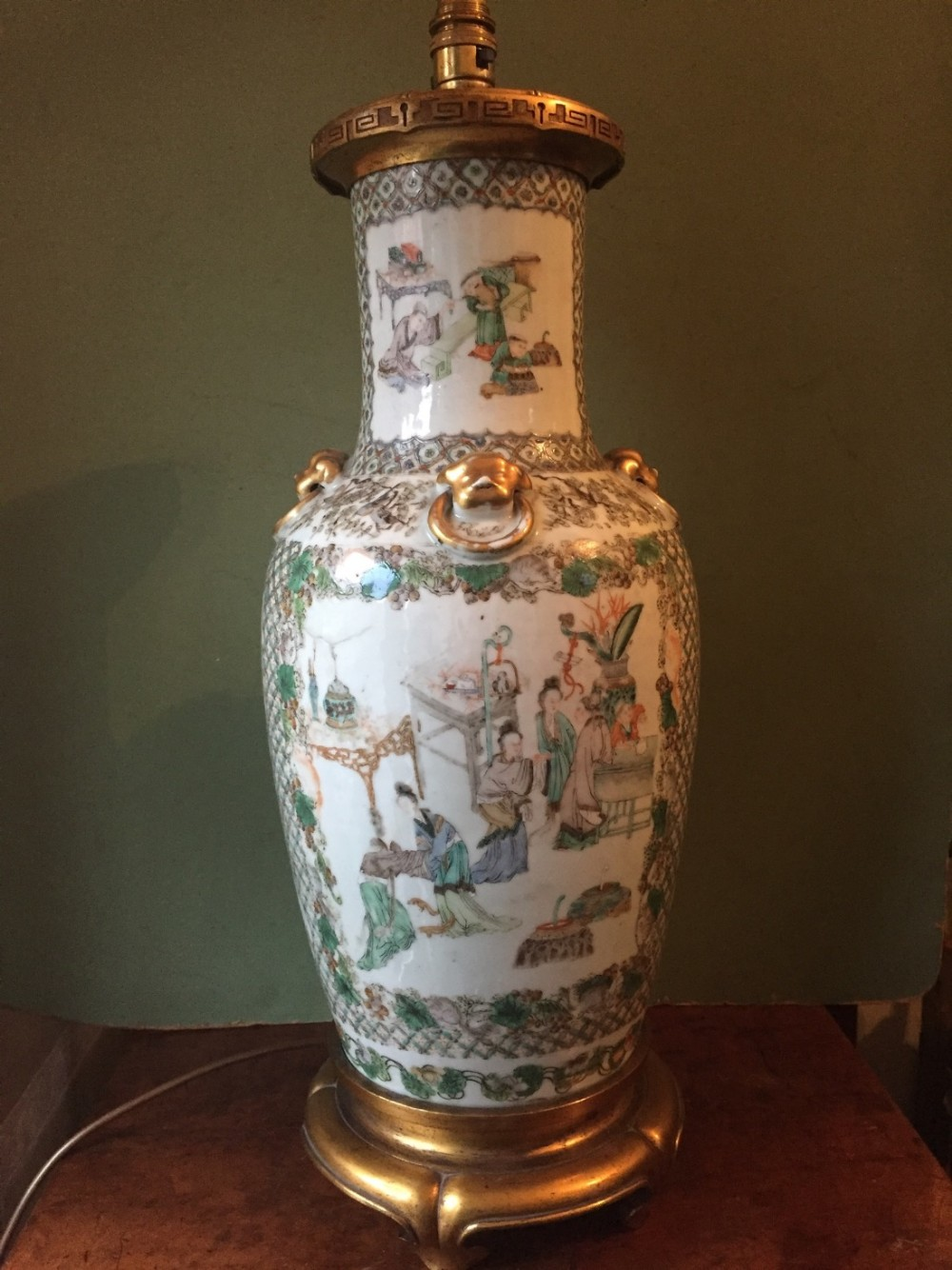 c19th chinese qing dynasty porcelain 'famille verte' palette decorated vase lamp in the c18th qianlong period style