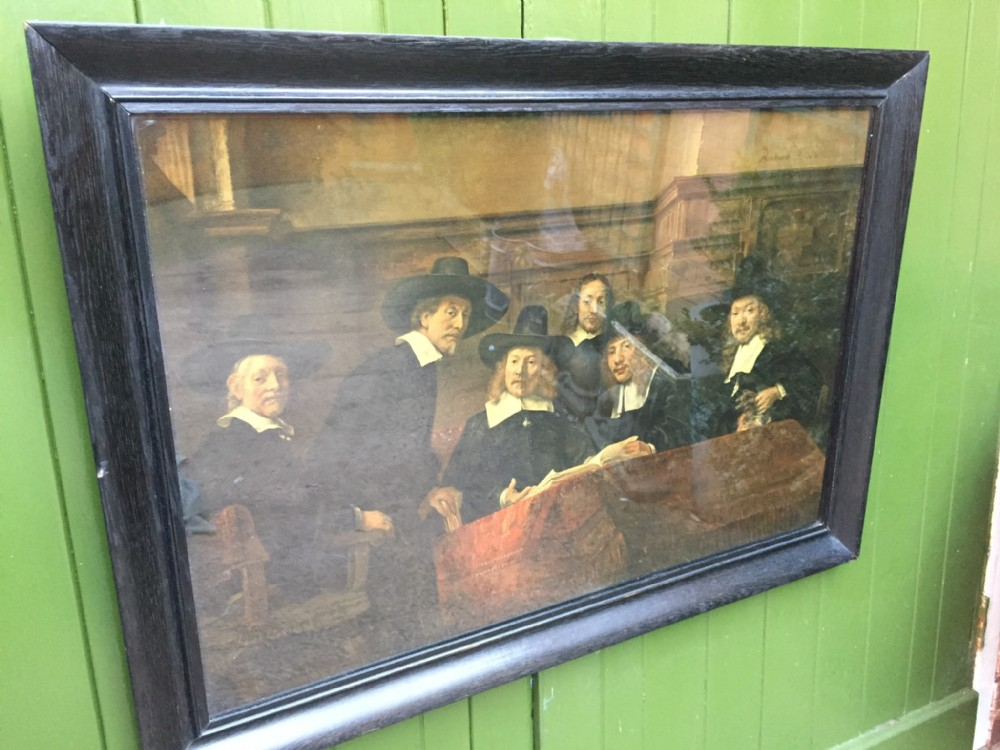 large late c19thearly c20th colour print after rembrandt the sampling officials
