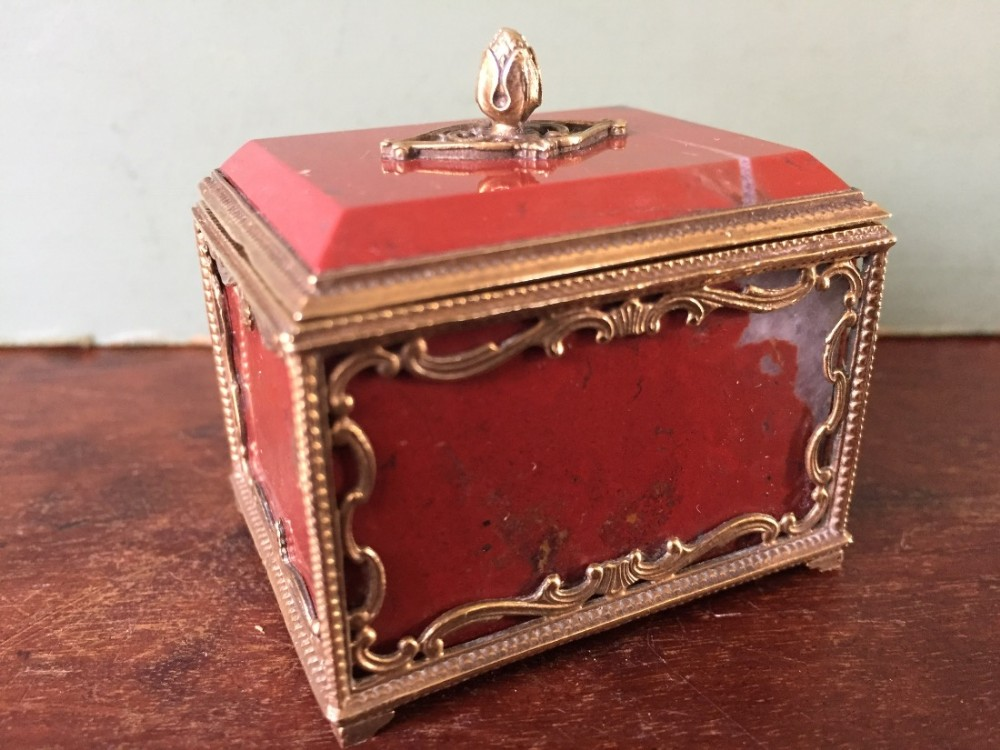 fine quality late c19th french giltbrass framed miniature agate casket