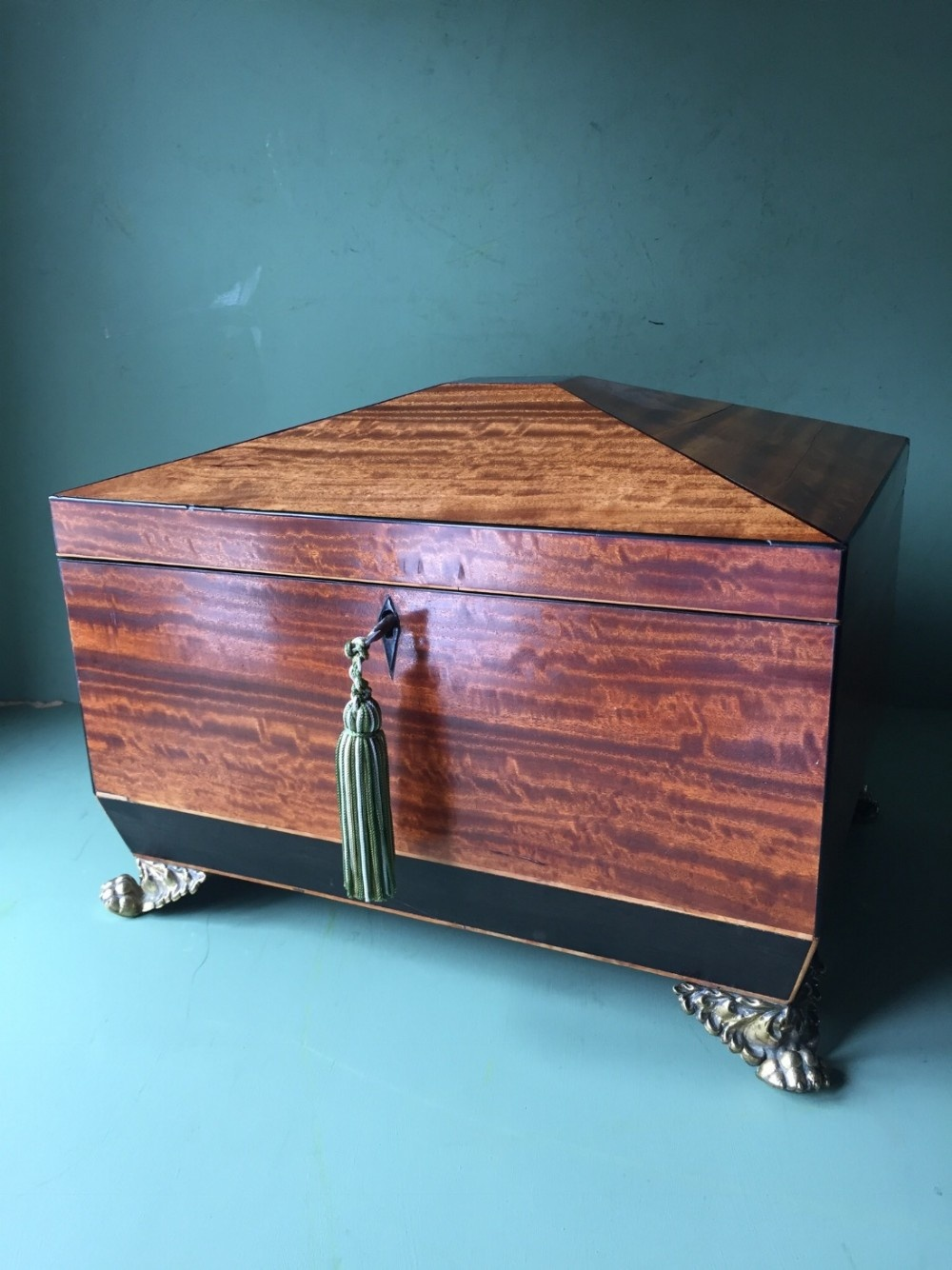 early c19th regency period satinwood and ebony sewing casket or box of sarcophagus form