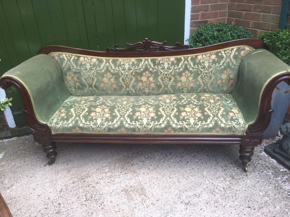 c19th william iv period mahogany framed double scrollend settee in 'as found' countryhouse condition