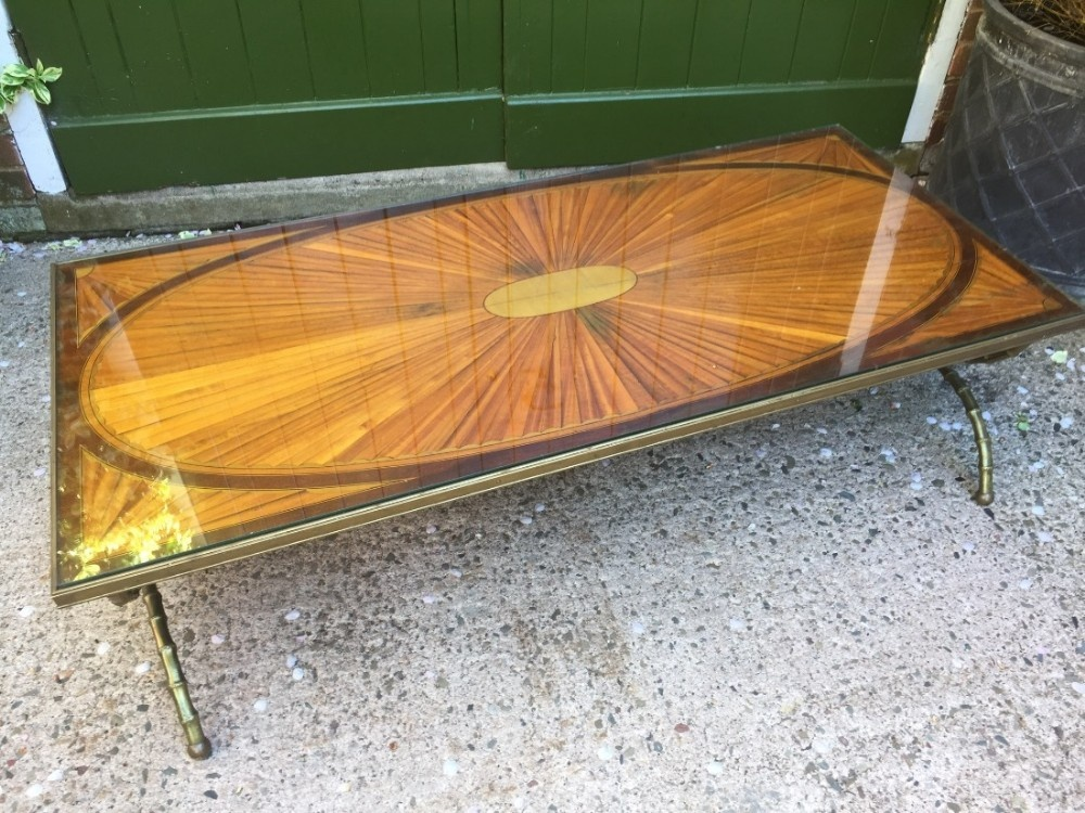 early c20th brassframed inlaid marquetry top coffee table on 'faux' bamboo style base