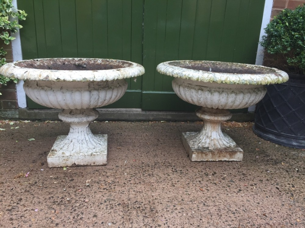 large pair of early c19th castiron terrace garden vases or urns of campana form