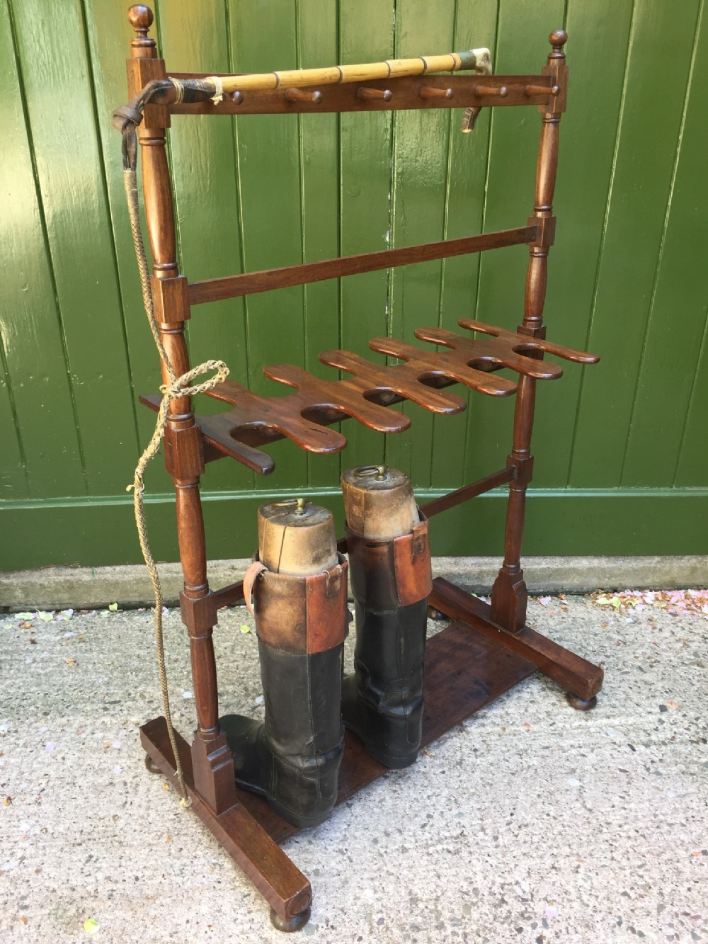 early c19th regency period mahogany 'countryhouse' boot and whip rack