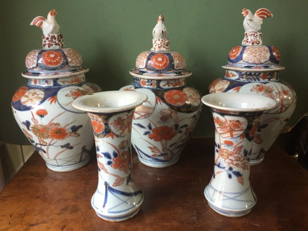 Garniture Of 5 Early C19th Japanese Imari Pattern Porcelain Vases Of